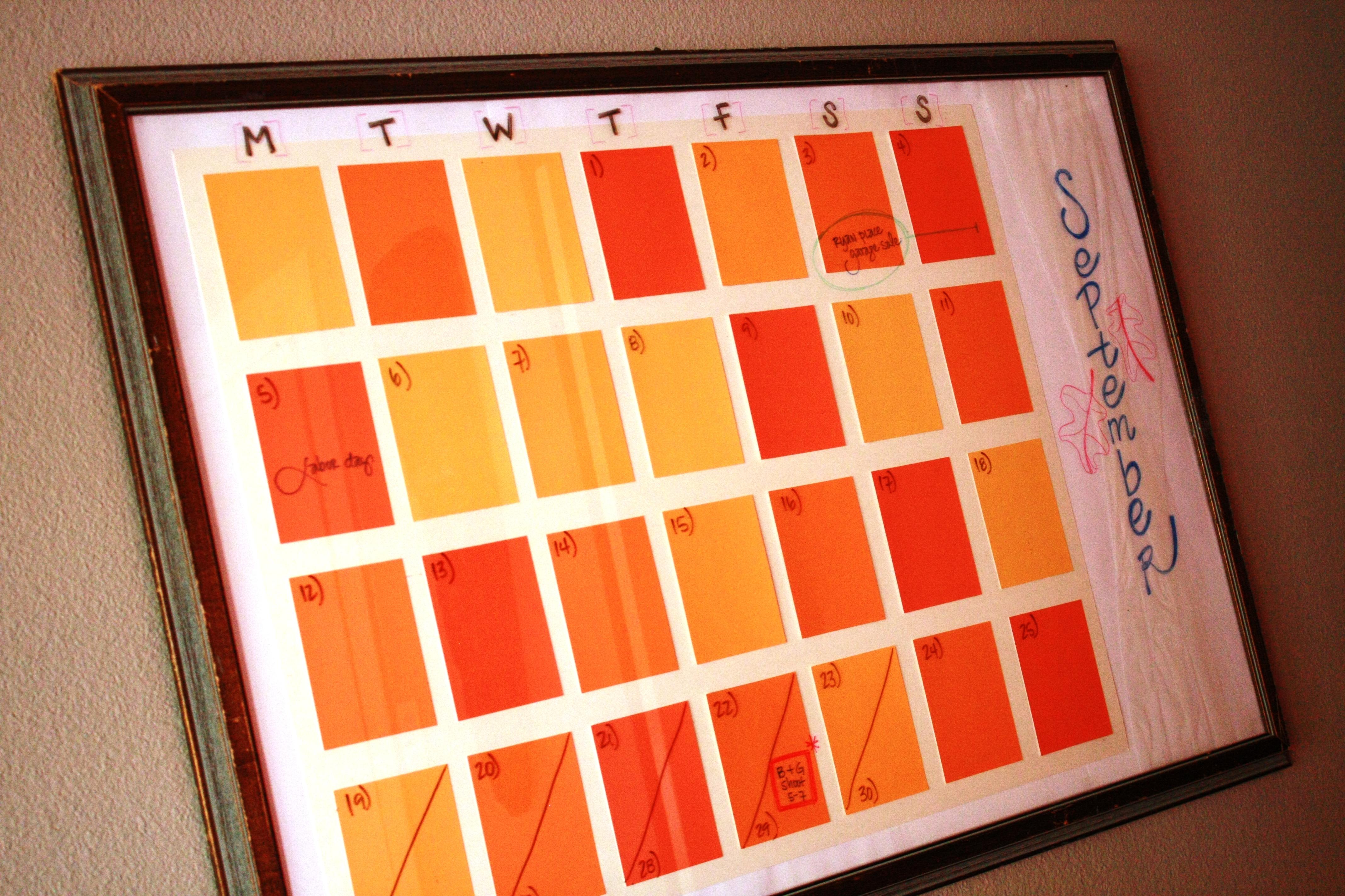 Diy Paint Strip Calendar : Paint chip wall calendar diy leftoverlemons